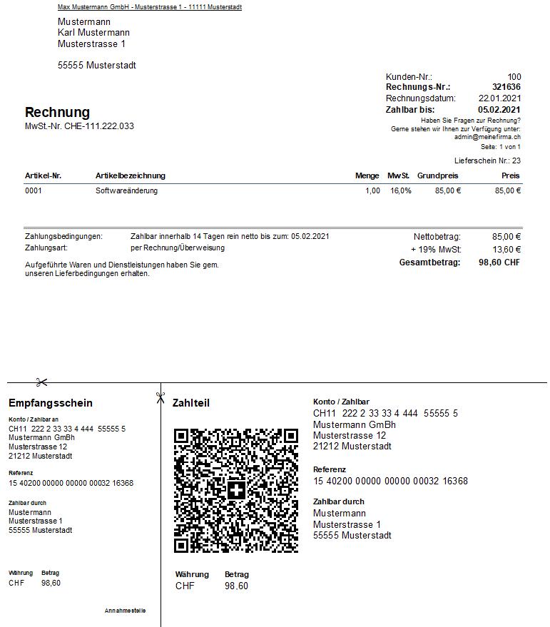 Rechnung QR-Rechnung Schweiz