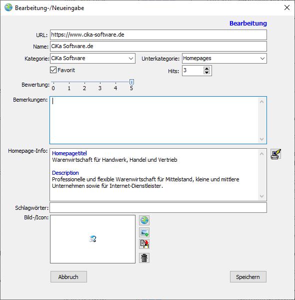 URL-Manager Neueingabe