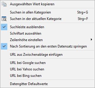 URL-Manager Tabellenfunktionen