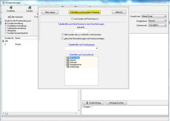 Datenbankfilter setzen um Newsletterkategorie auszuwählen